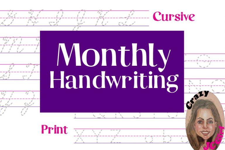Monthly Handwriting sheets - crazyJCgirl.com