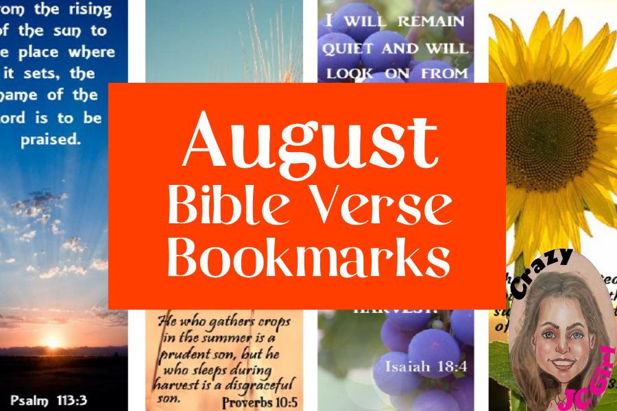 August Bible Verse Bookmarks - crazyJCgirl.com