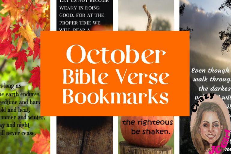 October Bible Verse Bookmarks ~ crazyJCgirl.com