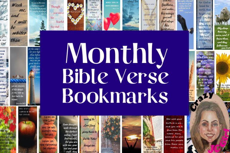 Monthly Bible Verse Bookmarks - crazyJCgirl.com