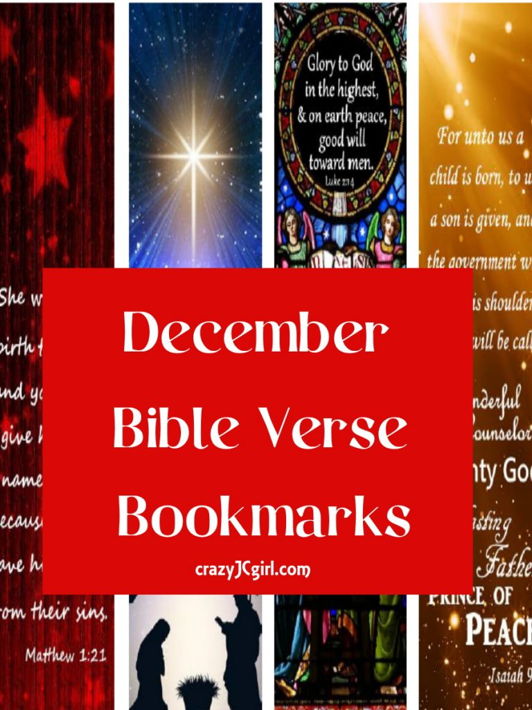 December Bible Verse Bookmarks - crazyJCgirl.com