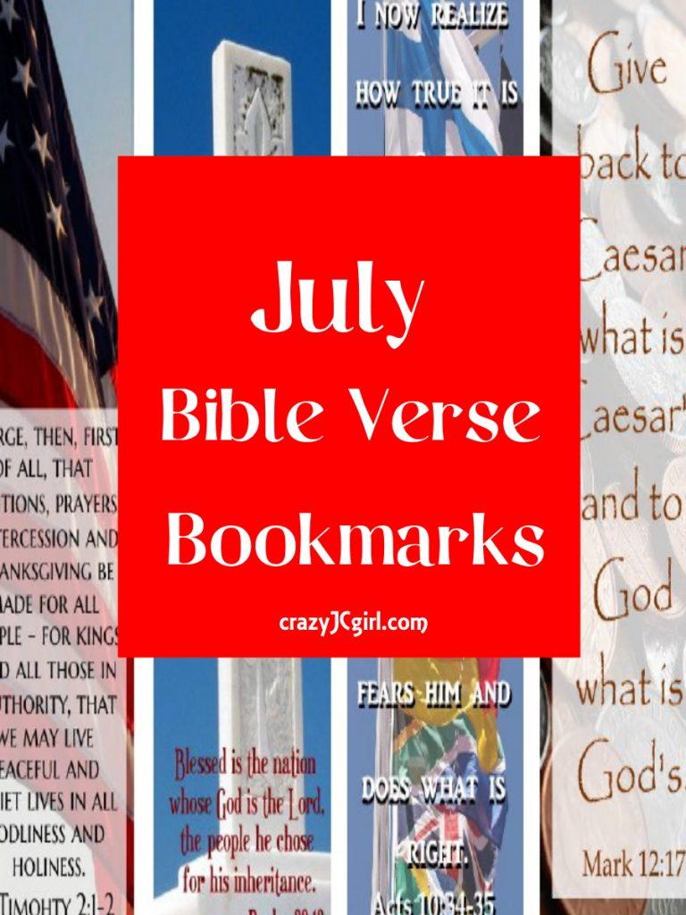 July Bible Verse Bookmarks - crazyJCgirl.com
