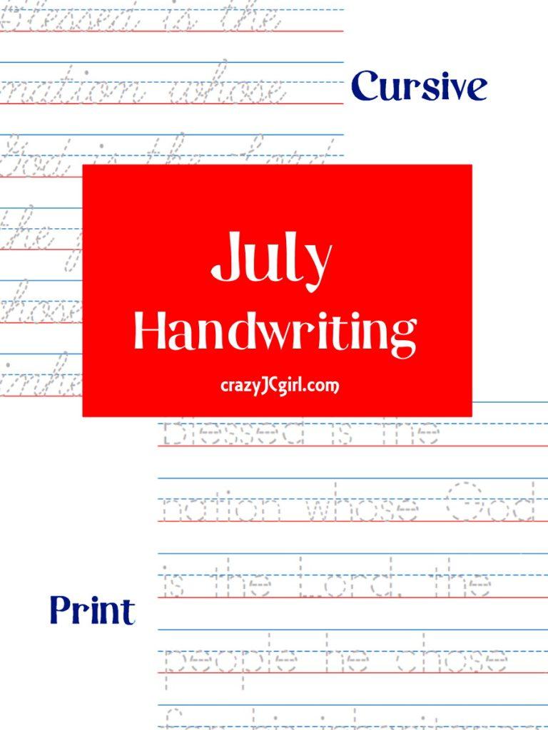 July Handwriting - crazyJCgirl.com