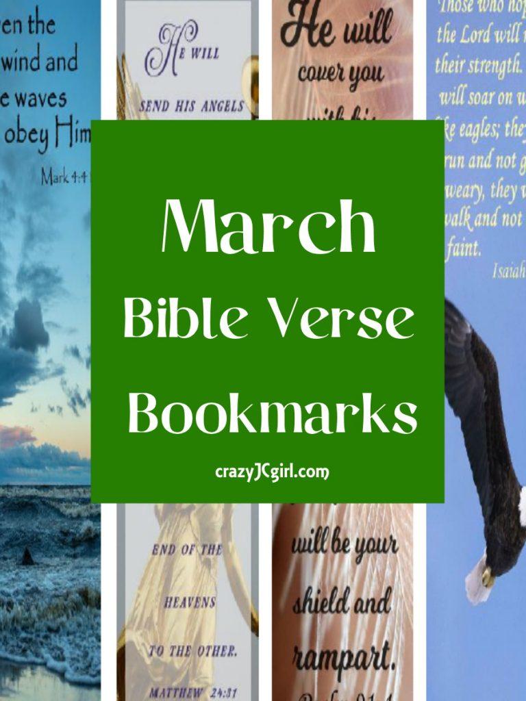 March Bible Verse Bookmarks - crazyJCgirl.com