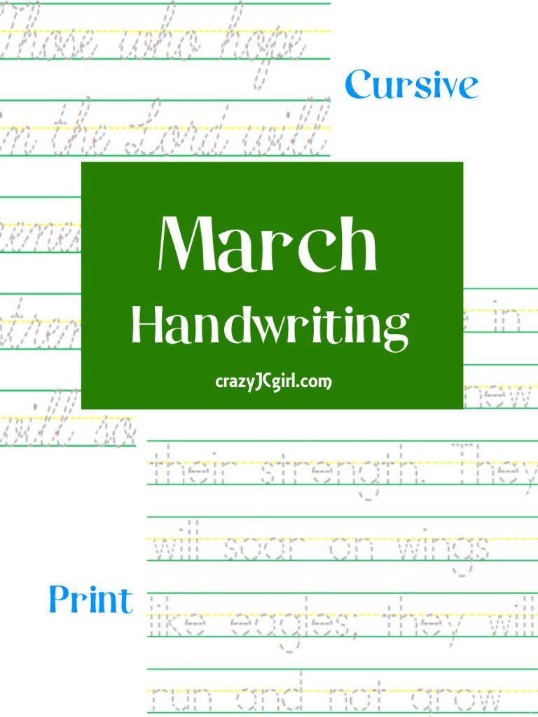 March Handwriting - crazyJCgirl.com