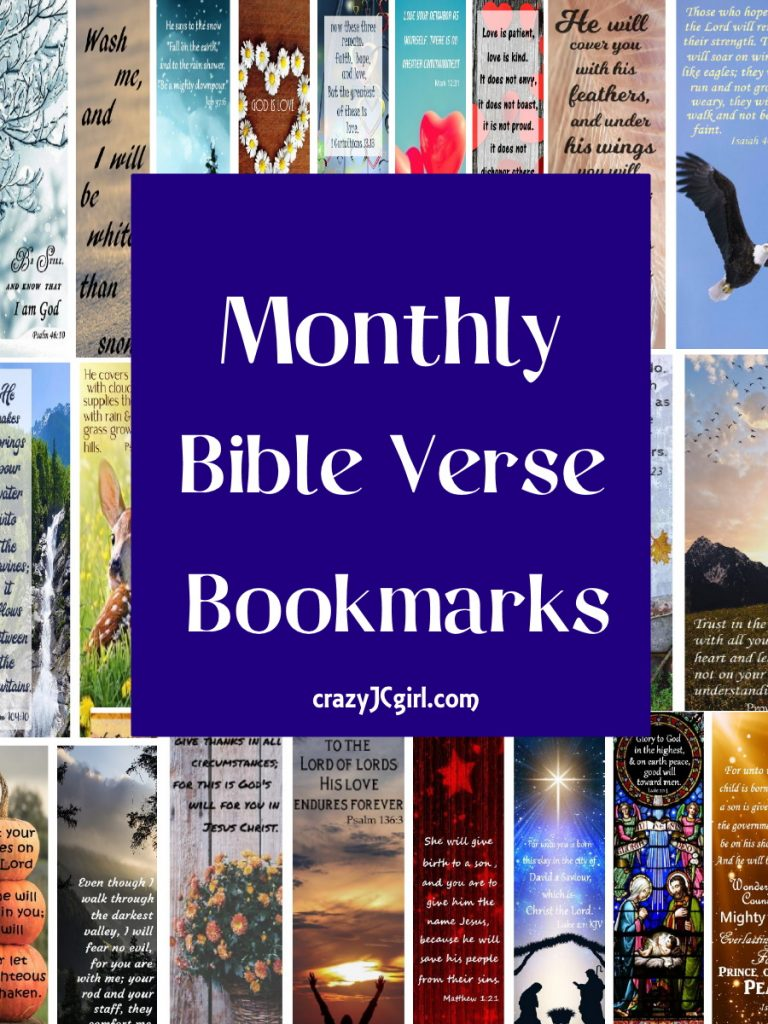 Monthly Bible Verse Bookmarks - crazyJCgirl.com