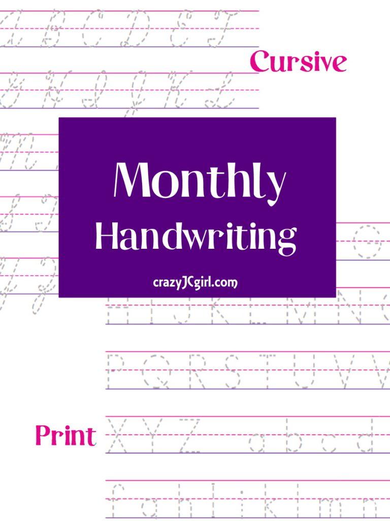 Monthly Handwriting - crazyJCgirl.com