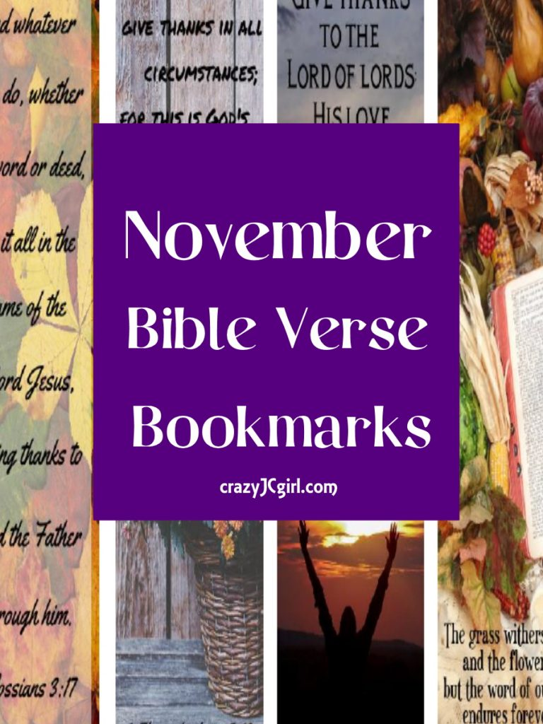 November Bible Verse Bookmarks - crazyJCgirl.com