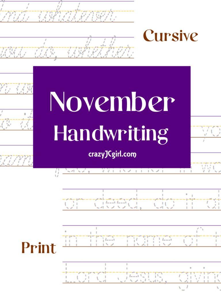 November Handwriting - crazyJCgirl.com