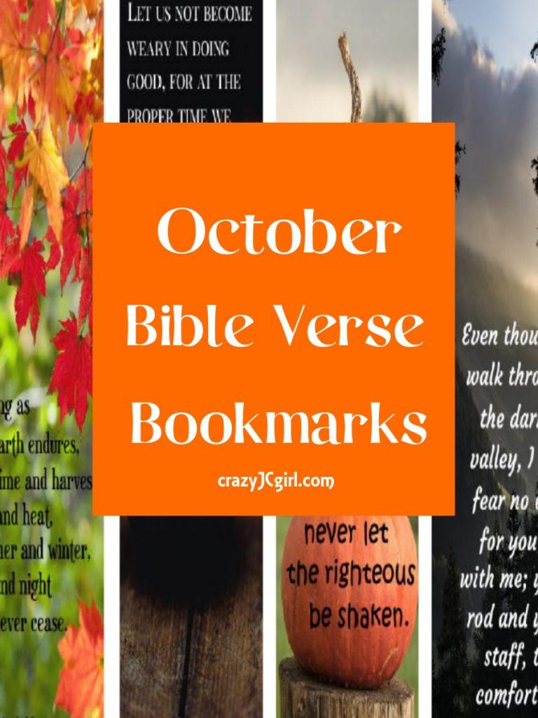 October Bible Verse Bookmarks - crazyJCgirl.com